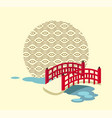 japanese bridge over river and circle with pattern vector image