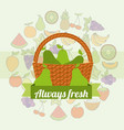 label wicker basket with always fresh pear vector image vector image