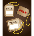 Leather shopping tags with rope vector image vector image