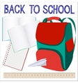 Modern school background with knapsack vector image vector image