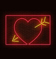 neon heart with arrow sign isolated on bric vector image vector image