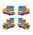 Orange truck loaded with barrels vector image vector image
