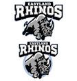 rhino mascot charging vector image vector image