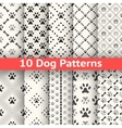 set animal seamless pattern paw footprint vector image