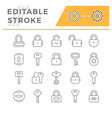 set line icons lock and key vector image vector image