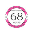 sixty eight years anniversary celebration logo vector image vector image