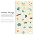 summer holidays background with travel icons vector image vector image