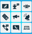 telecommunication icons set with mobile vector image