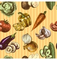 Vegetables sketch color seamless pattern vector image vector image