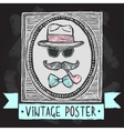 Vintage hats and glasses poster vector image vector image