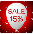 White Baloon with text Sale 15 percent Discounts vector image vector image