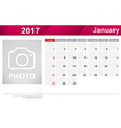 Year 2017 january month simple and clear design vector image vector image