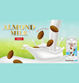 almond milk realistic product placement vector image vector image