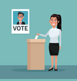 background scene woman in coat and skirt vote for vector image vector image