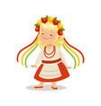 blonde girl wearing national costume of ukraine vector image vector image
