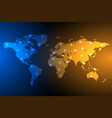 blue and orange global map background vector image