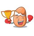 boxing winner broken egg isolated on the mascot vector image
