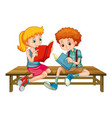 boy and girl reading a book vector image