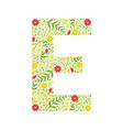capital letter e green floral alphabet element