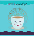 cartoon coffee cup take away coffee happy cup of vector image