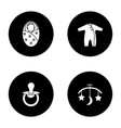 childcare glyph icons set vector image