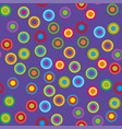colorful psychedelic circles on a violet vector image