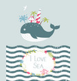 cute summer card with whale vector image