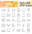 electronic devices thin line icon set media signs vector image vector image