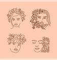 elegant women s faces in one line art style vector image vector image