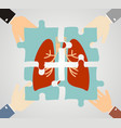 hands putting human lungs puzzle pieces together vector image vector image