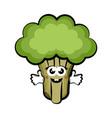 happy broccoli cartoon colored sketch vector image