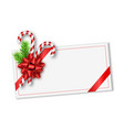 holiday christmas gift card with red bow vector image vector image