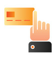 index finger pointing at credit card flat icon vector image vector image
