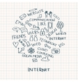 Internet doodles in circle vector image vector image