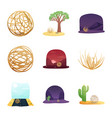 isolated object field and america logo set vector image vector image
