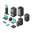 isometric technology and banking icons flat vector image vector image