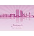 Jacksonville skyline in purple radiant orchid vector image vector image