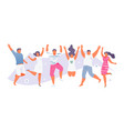 jumping summer people vector image vector image