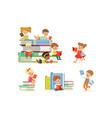 kids reading books and enjoying literature set of vector image