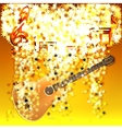 musical notes in a cloud of stars and guitar vector image vector image