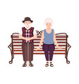 old man and woman or grandparents sitting on bench vector image vector image
