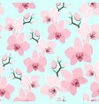 pink purple exotic orchid flower seamless pattern vector image vector image