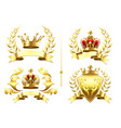 realistic heraldic emblems insignia with golden vector image