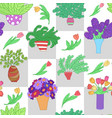 seamless pattern with cute cartoon colored plants vector image vector image