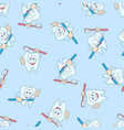 seamless pattern with funny teeth hand drawing vector image