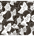 seamless pattern with many women faces with moon vector image