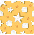 seamless pattern with marine shells and starfish vector image vector image