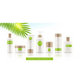 set cosmetic white packages with bamboo cap vector image