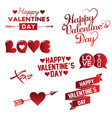 set of happy valentine s day hand lettering vector image vector image