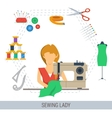 SEWING LADY CONCEPT vector image